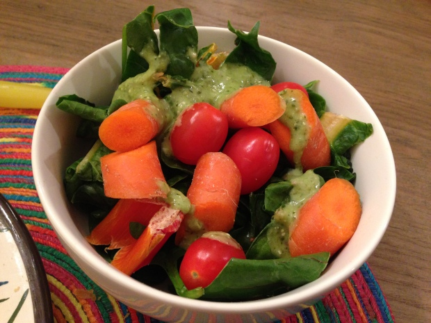 Salads are never boring with the right dressing. Here, I used cilantro dressing. Yum!