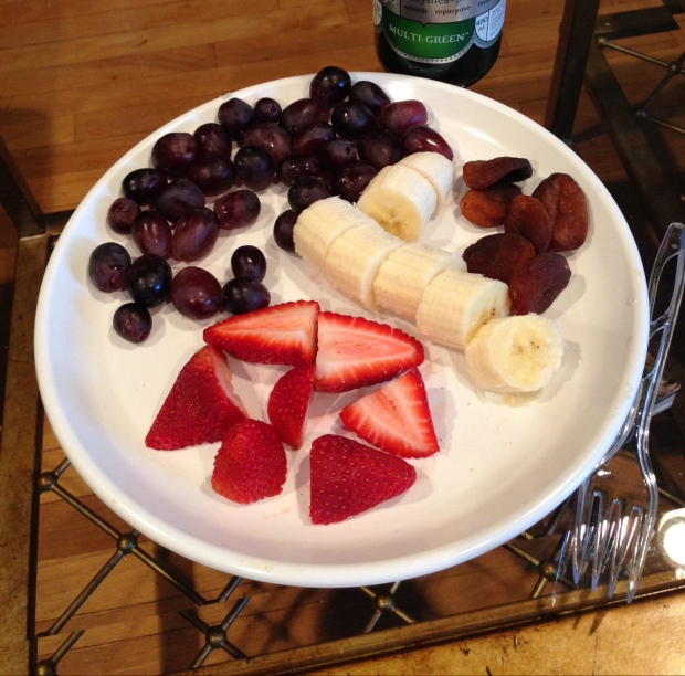This was a meal (I ate this for lunch) composed of dark purple grapes, a banana, strawberries, and turkish figs. I craved fruit, I ate fruit, and got my fair share of vitamins, minerals, and phytonutrients!