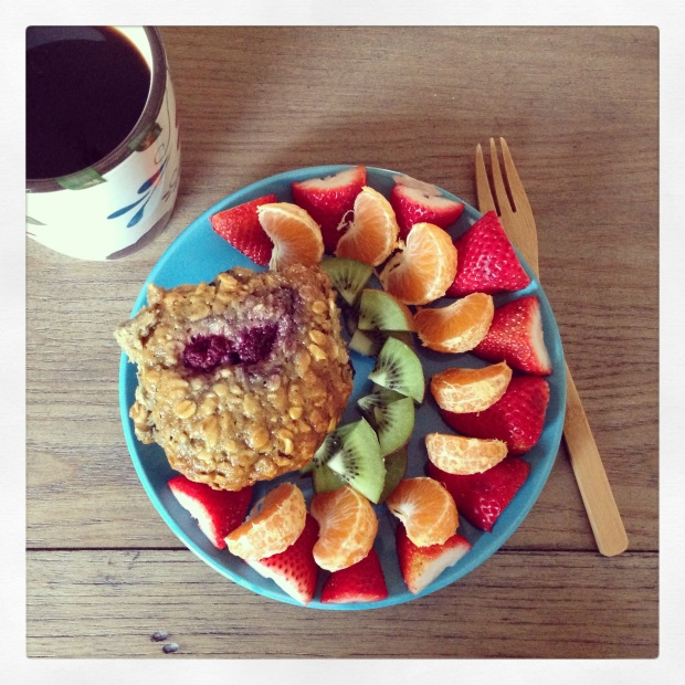 Pair sliced fruit along with a whole grain product, like a berry-oat muffin, oatmeal, or whole-grain cereal.