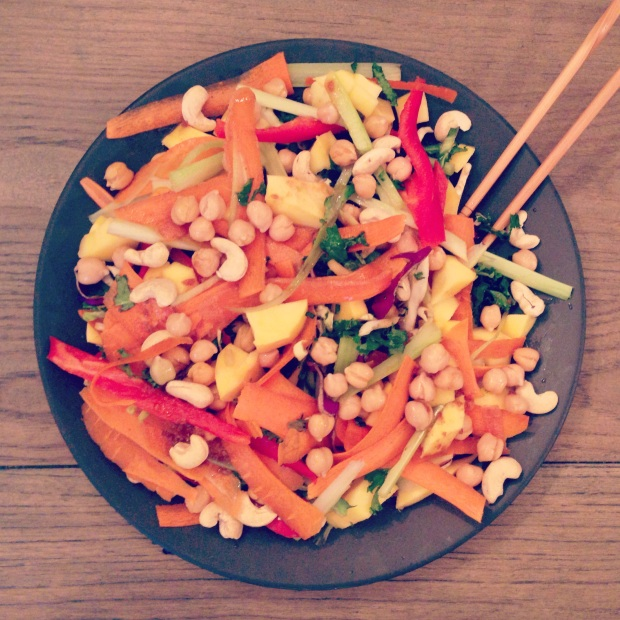 Sliced mango added to a bean salad topped with various veggies and teriyaki sauce is one idea for a fruit-infused main course