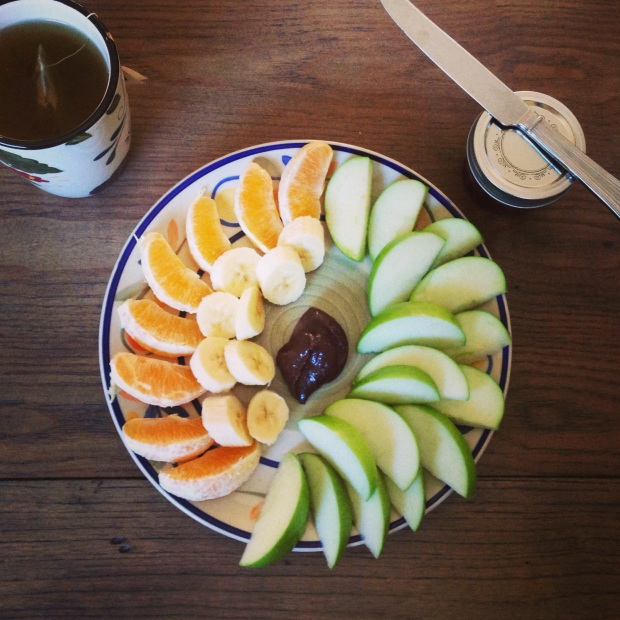 Nutella-like spread, or similar nut butter pairs well with apples and bananas!