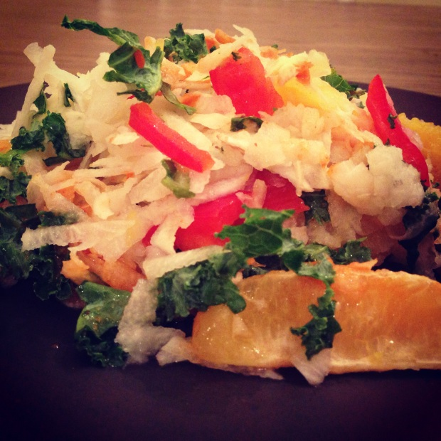For a crunchy meal, shred jicama (a root vegetable) or prepare brown rice, and add oranges, kale, bell pepper, and top with hot sauce for a variety of flavors and textures!